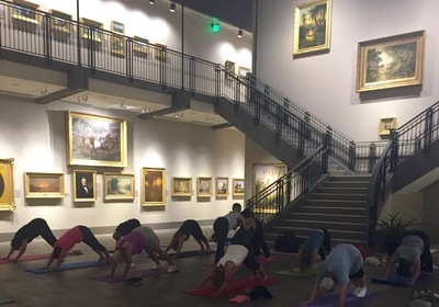Inside Wednesday Yoga in the Gallery